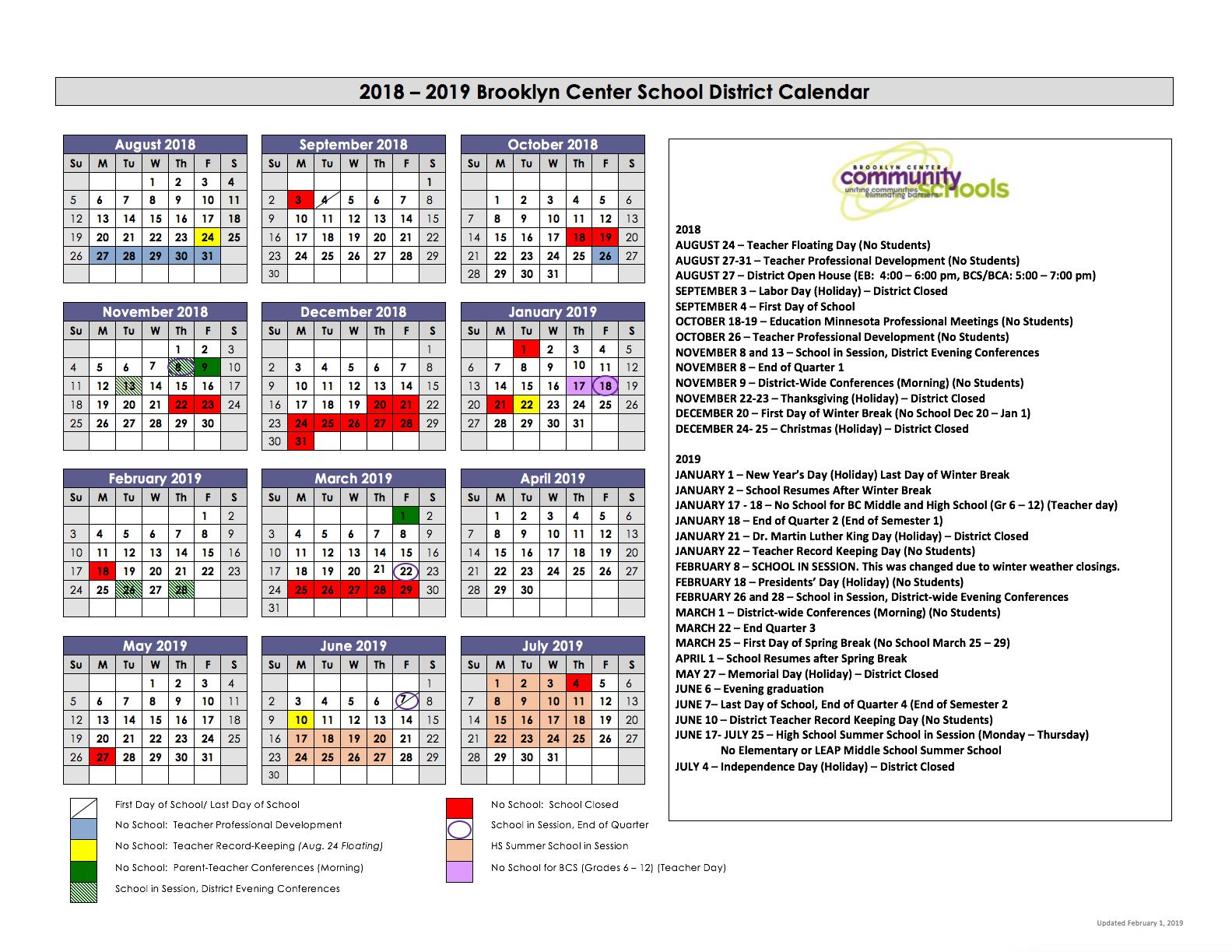 Minneapolis Public Schools Calendar 2020-2021 Early College Academy / Calendar